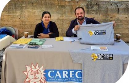 CARACEN workers at a Census information booth